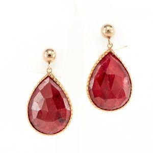Vintage 10K Raw Ruby Earrings